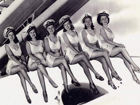 The Navy Blues Sextet. Katharine & Georgia are in the center.
